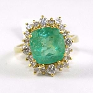 Jewelry - Emerald Diamond Halo Solitaire Ring 18k YG 4.84Ct